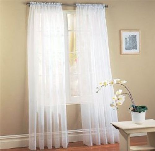 Cheap Window Curtains Modern Voile For Living Room Solid Sheer Drapes 1pc