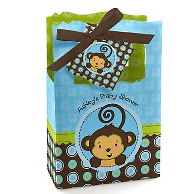 monkey boy  personalized baby shower favor boxes, Baby shower invitation