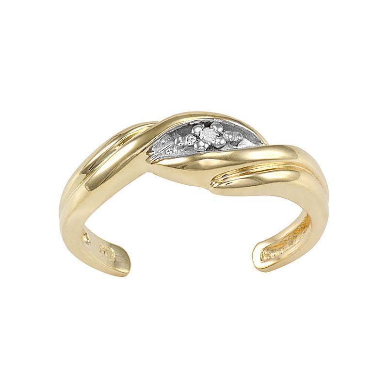 Diamond Accent 10k Gold Swirl Toe Ring Women S White Gold Toe Rings Toe Rings Rings