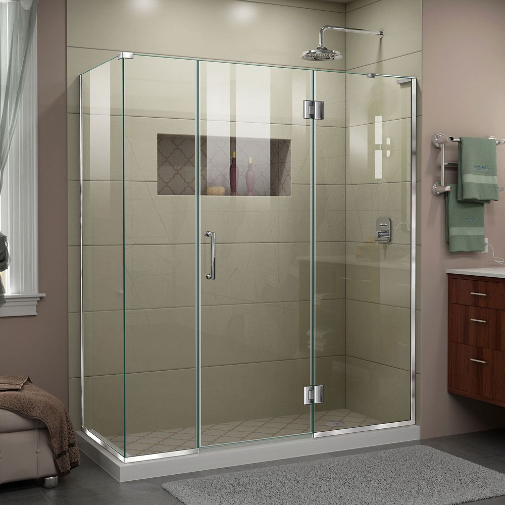 Unidoor X 63 1 2 Inch W X 30 3 8 Inch D X 72 Inch H Frameless Shower Enclosure In Chrome Frameless Shower Frameless Shower Doors Shower Doors