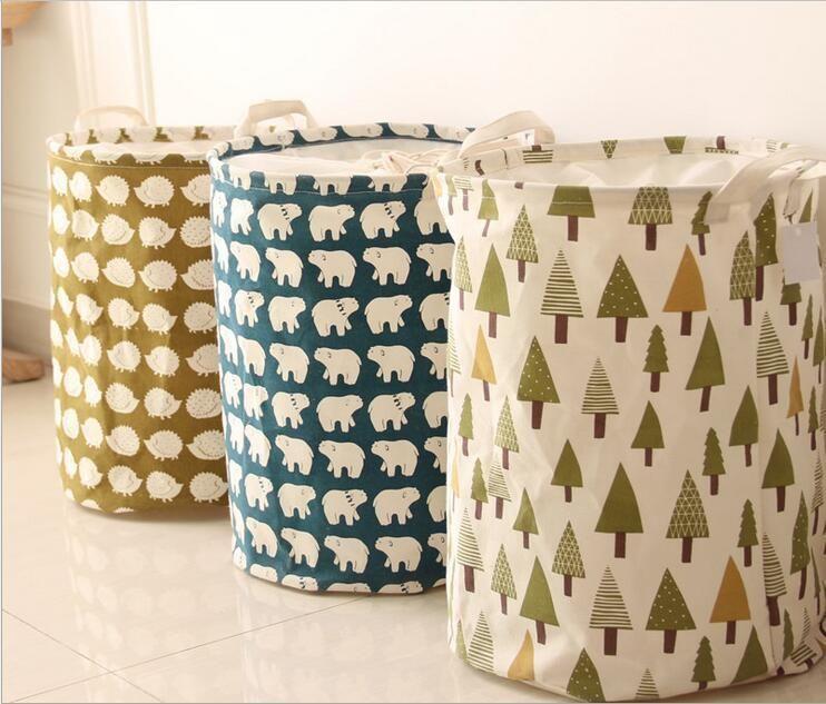 Creative Laundry Clothes Bin Organizer Basket Linen Storage Toy Foldable Bag