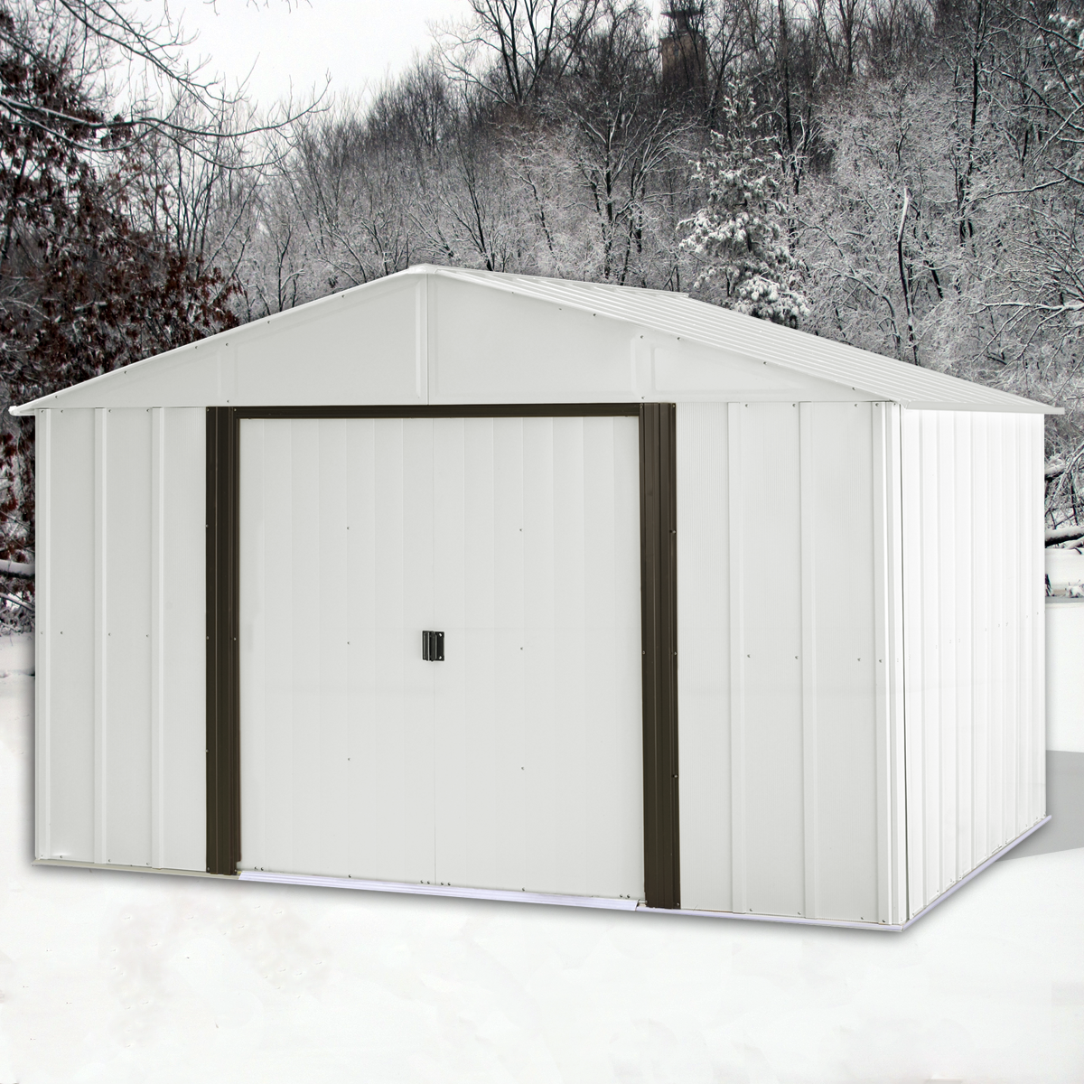 Arlington 10 X 12 Ft Eggshell Coffee Steel Storage Shed Steel Storage Sheds Storage Shed Metal Storage Sheds