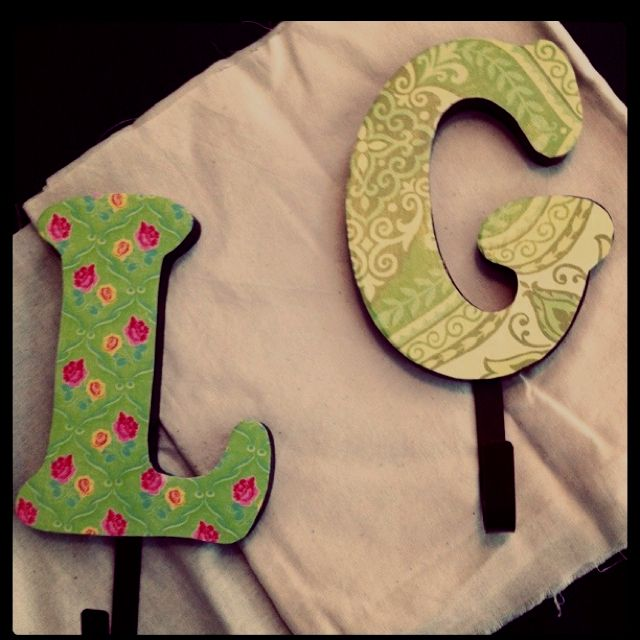 1 Letter Hooks From Michaels And A Little Scrapbook Paper