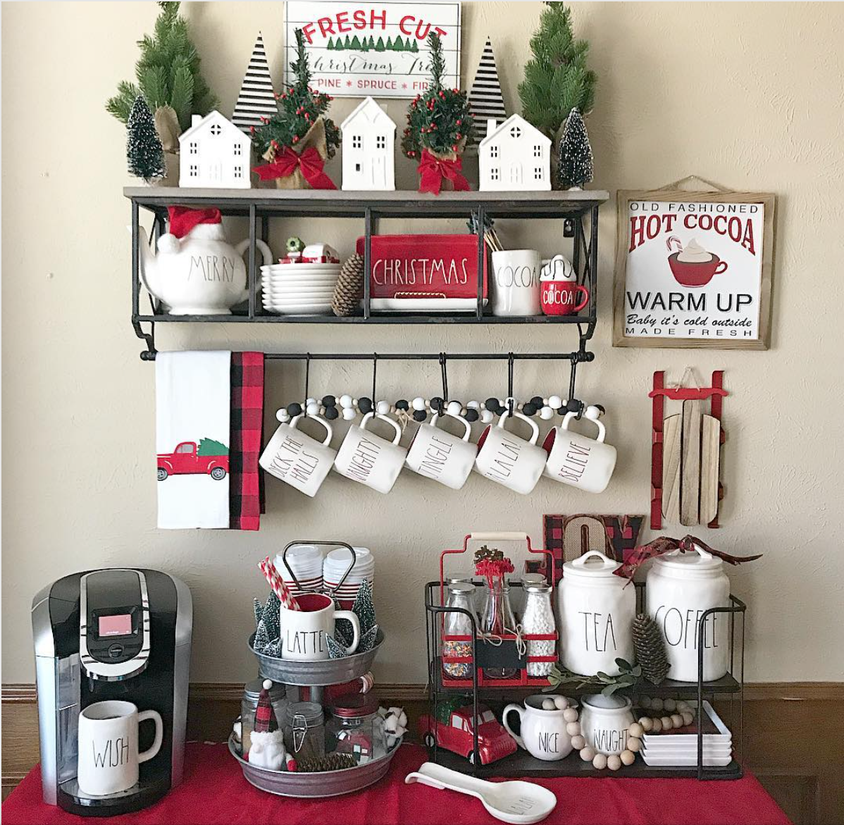 Now This Coffee Station Has All The Christmas Vibes With The Cute Little Sign And All The Splashes Of Red And In 2020 Christmas Kitchen Coffee Bar Home Holiday Coffee