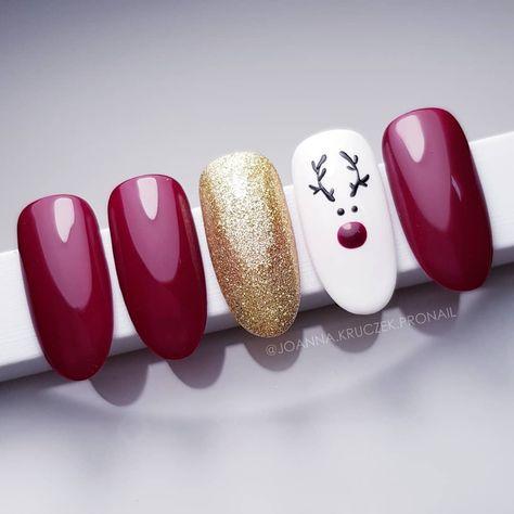 new nails christmas deer 33 ideas in 2020  christmas gel