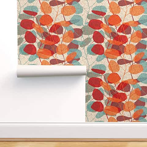 Amazon Com Spoonflower Peel And Stick Wallpaper Tools Home Improvement Stick On Wallpaper Red Wallpaper Leaf Texture