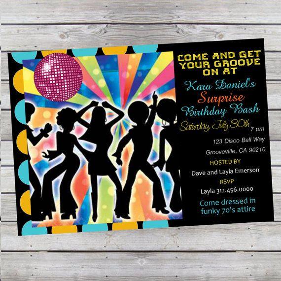 cool retro 70's disco birthday invitation by livebrightdesigns, Birthday invitations