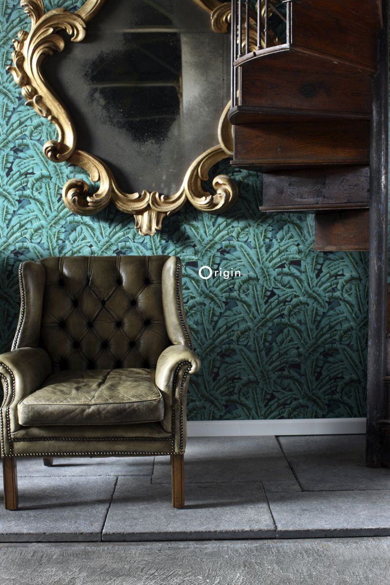 Exotic chic green and black palm leaf wallpaper | collection Wunderkammer | Origin - luxury wallcoverings