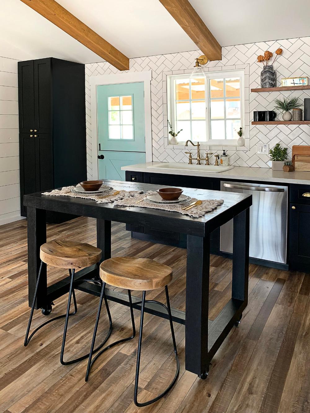 Black Onyx Reclaimed Wood Bar Table Kitchen Island Counter ...