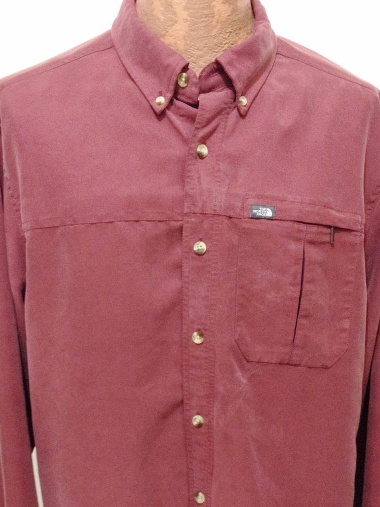 712d4ace6 The North Face Mens L Burgundy Long-Sleeve Modal Polyester Button ...