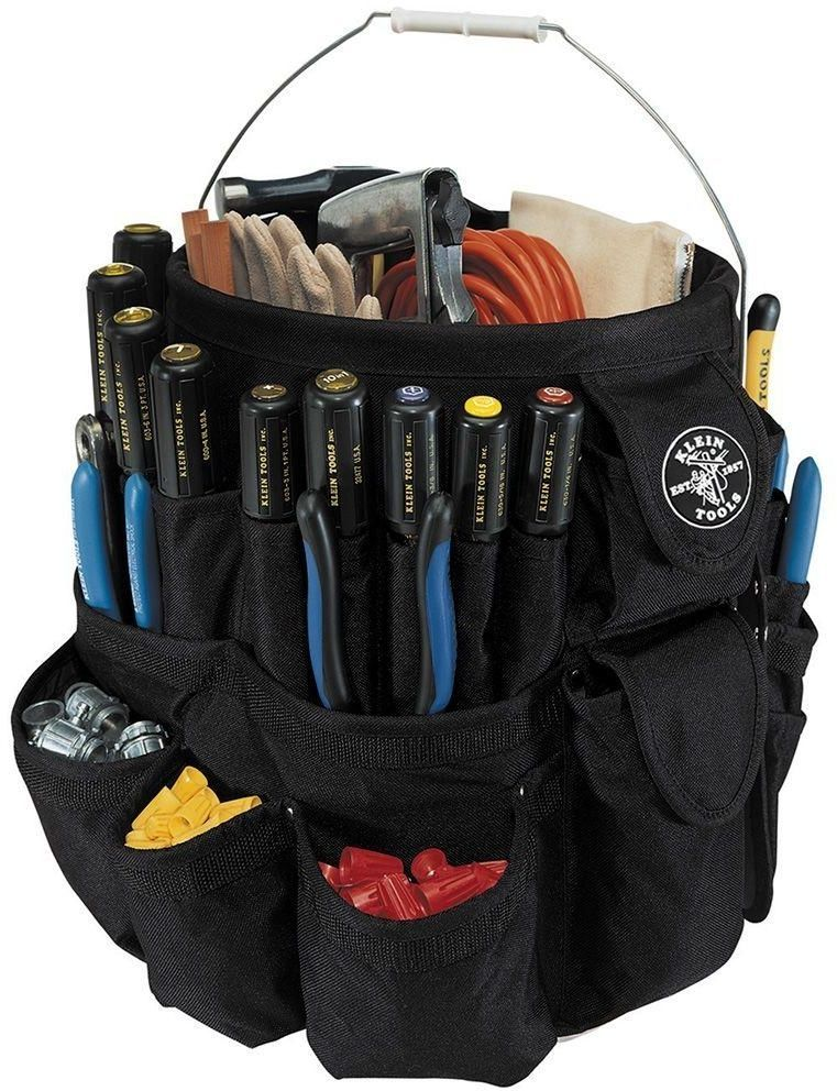 5d3557e48169 Klein Tools 11-1 2 In. Tool Pocket Storage 5 Gal Bucket Organizer Tote- New…