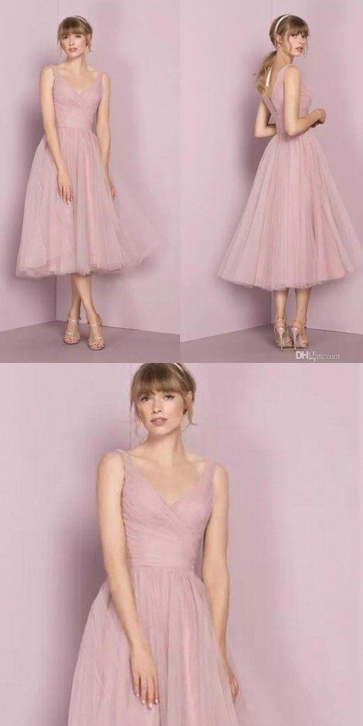 Fashion Brautjungfernkleider Kurz Rosa A Linie Kleider ...