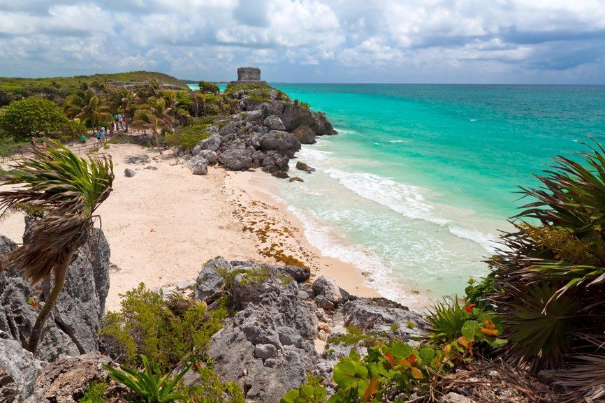 Perfect beach at the ruins of Tulum, Mexico.