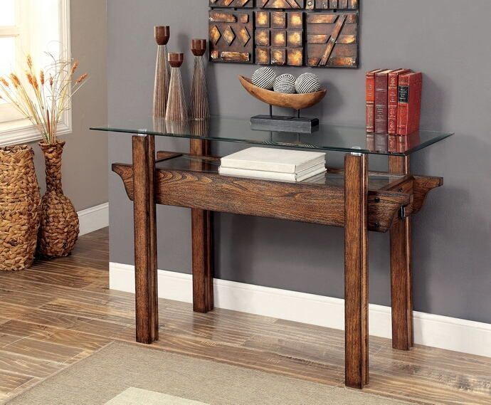 Cm4318s Penny Medium Weathered Oak Finish Wood And Glass Top