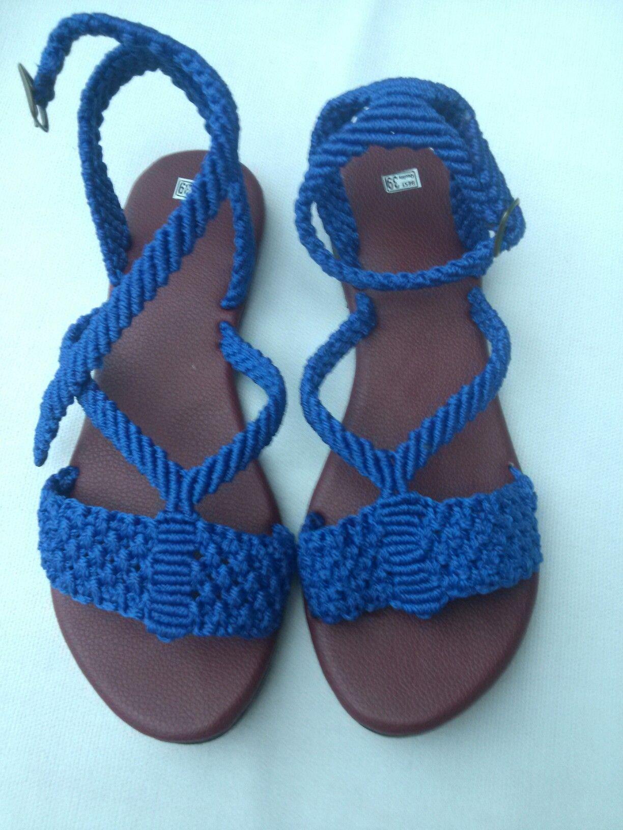 6ee87fbc Macrame Rings, Macrame Bag, Crochet Sandals, Crochet Shoes, Todo A Crochet,