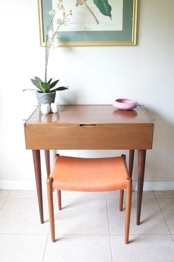 Mid Century Danish Modern Vanity Table Vintage Walnut Vanity Desk