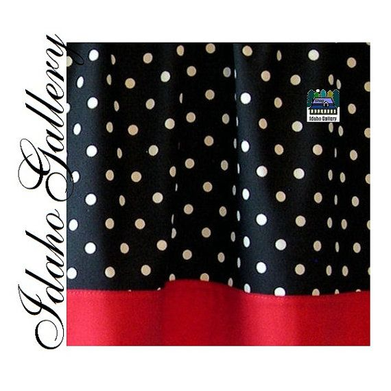 polka dot black white red kitchen curtain or by idahogallery things i love red kitchen. Black Bedroom Furniture Sets. Home Design Ideas