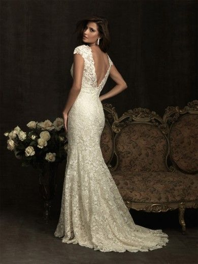 023102bd0d31 Slida/Kolumn Kort Ärm Lace V-Ringad Sweep Släp Wedding Dresses ...