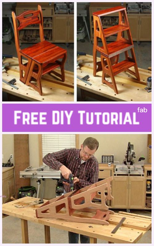 DIY Convertible Ladder Chair Tutorial #woodworkingprojectschair