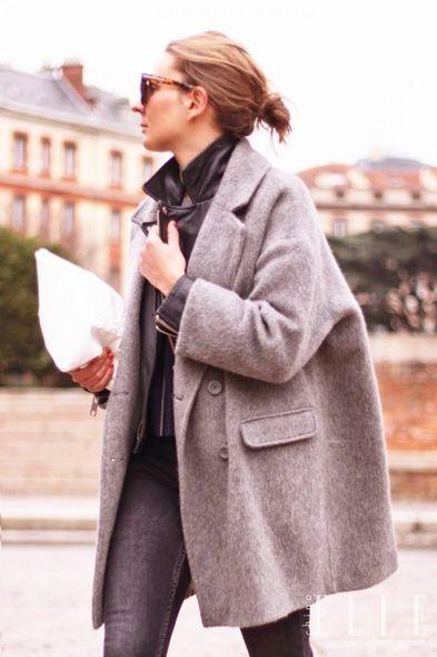 最有型:羊毛大褸  黑色皮衣