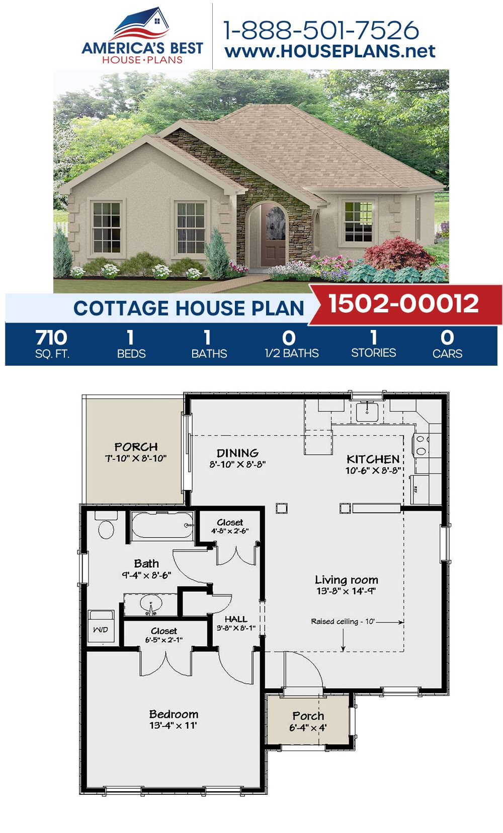 House Plan 1502 00012 Cottage Plan 710 Square Feet 1 Bedroom 1 Bathroom Cottage Floor Plans Cottage House Plans Bungalow House Plans