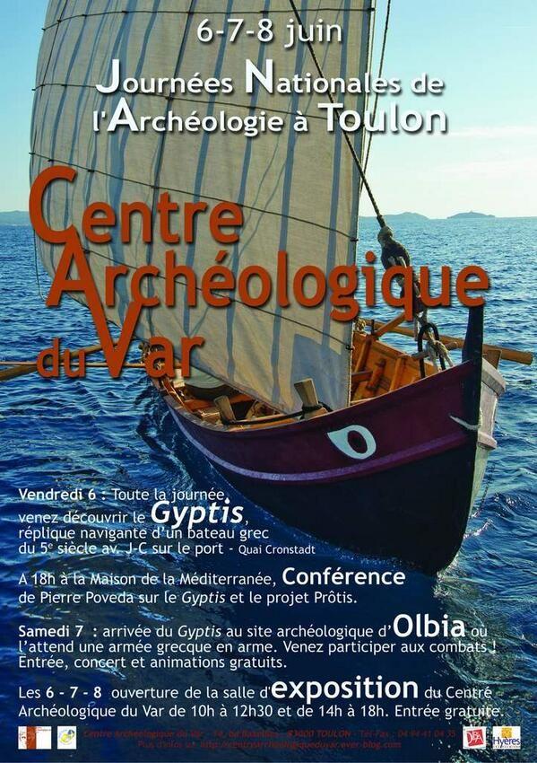 Journées nationales de l'archéologie. Du 6 au 8 juin 2014 à Toulon.