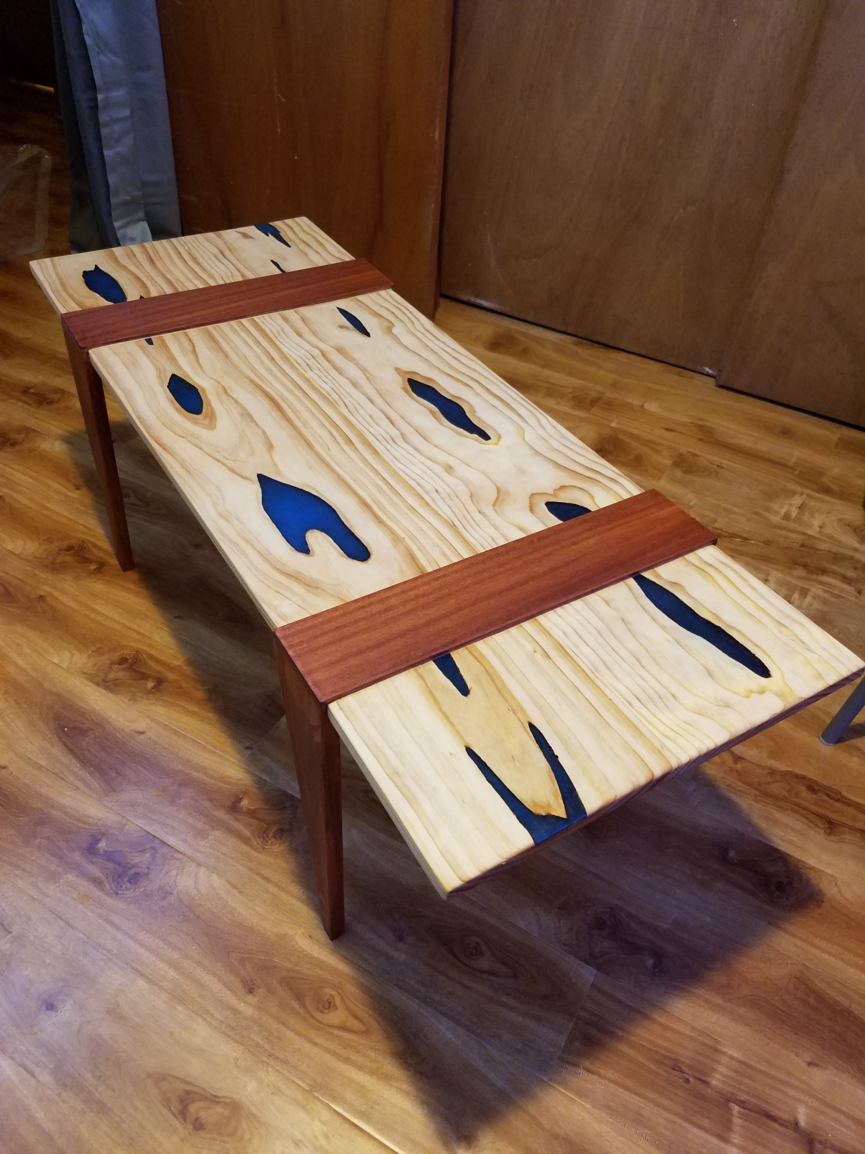 Pine Brazilian Cherry And Glow Resin Coffee Table Imgur Diy Table Top Recycled Furniture Vintage Home Decor [ 4032 x 3024 Pixel ]