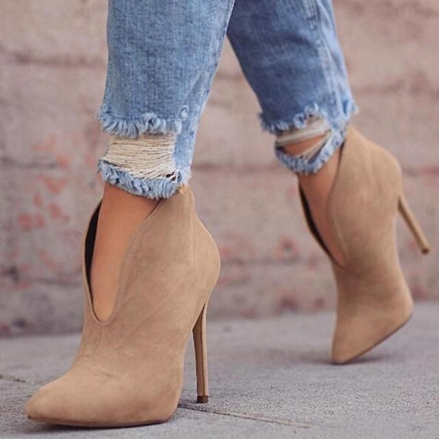 Sexy Women's Faux Suede V-Shape Cut Ankle Boots Fashion High Stiletto Heel Shoes Boots