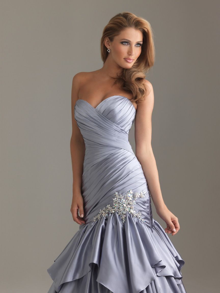 Cheap Grey Mermaid Sweetheart Floor Length Lace Up Prom Dresses With ...