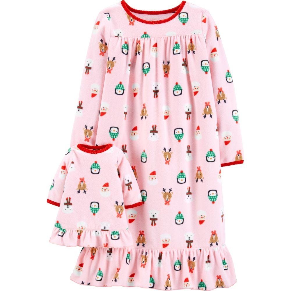 852ff3a7afae Toddler Girl Carter s Christmas Fleece Nightgown   Matching Doll ...