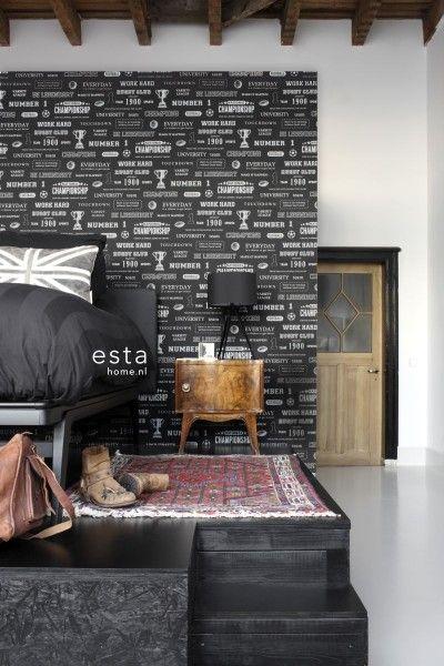 krijtverf vliesbehang sport quotes zwart #wallpaper #slaapkamer ...