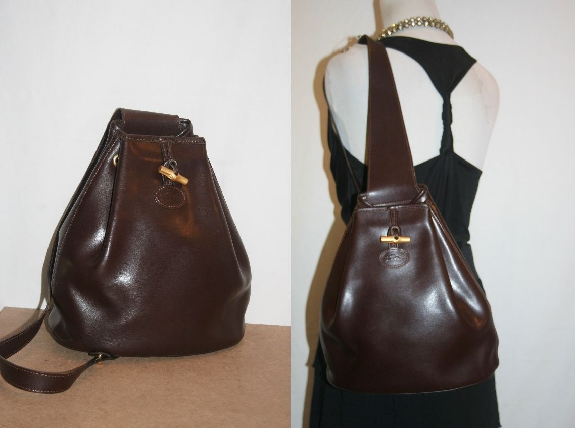 LONGCHAMP Paris Leather Roseau Backpack One Strap Drawstring Sling ...