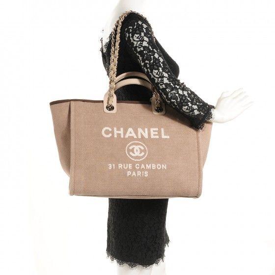 f93270f9c CHANEL Canvas Large Deauville Tote Ecru | Handbags | Chanel canvas ...