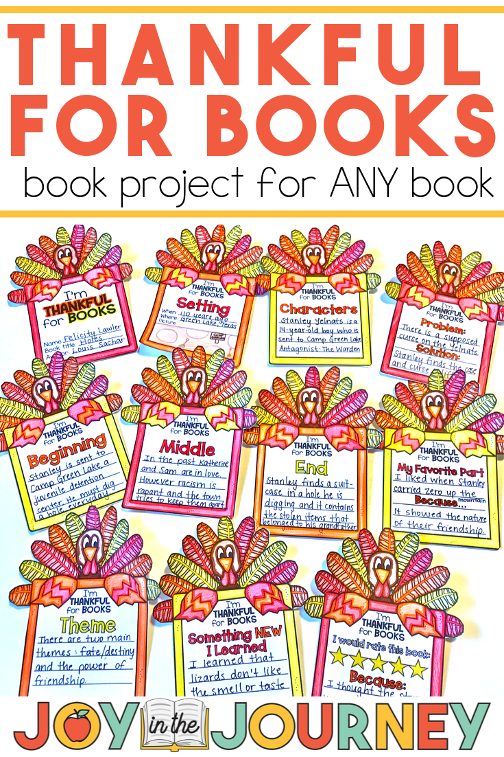Thanksgiving Book Project For Any Book Reading Projects Any