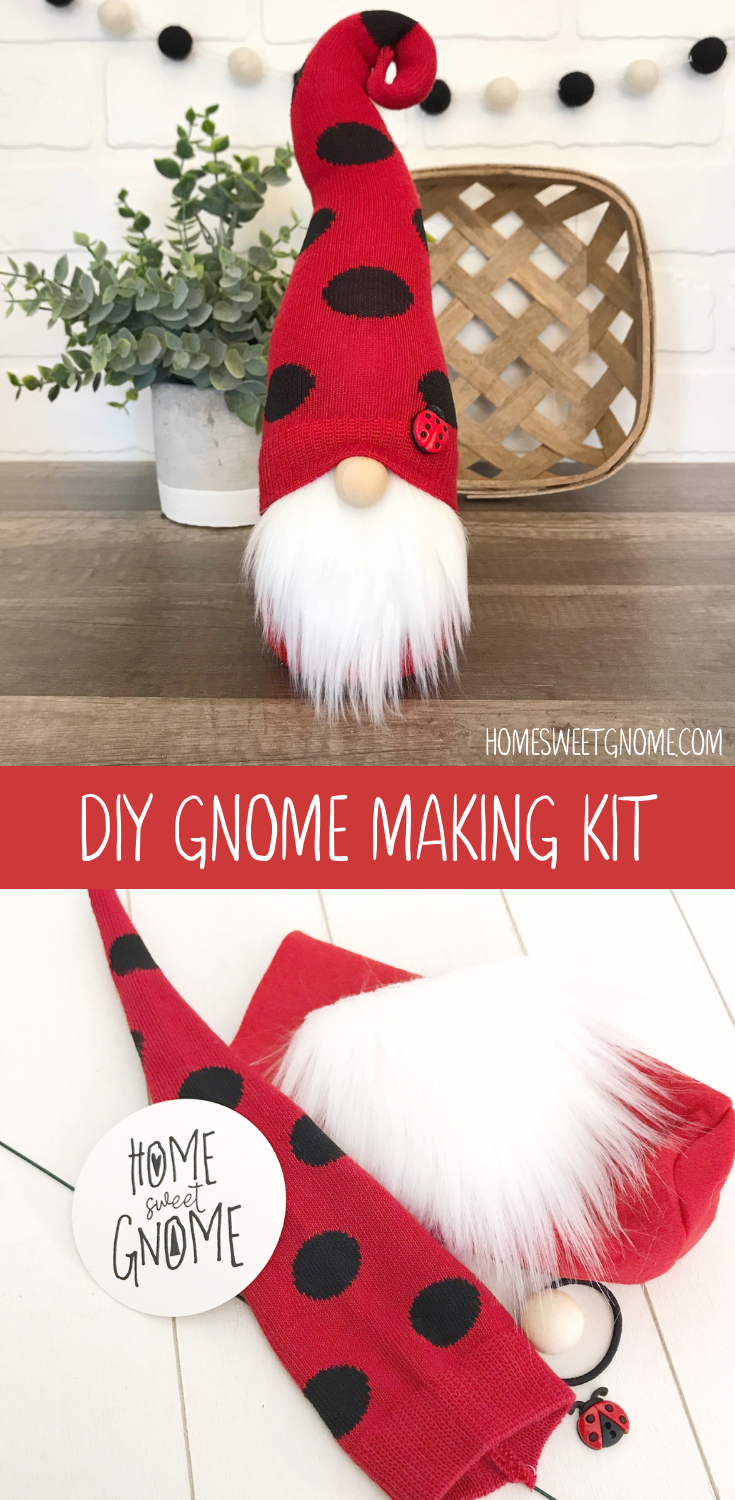 DIY lady bug gnome making kit. No sewing required. Learn