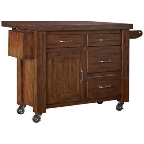 Cabin Creek Chestnut Kitchen Cart With Breakfast Bar