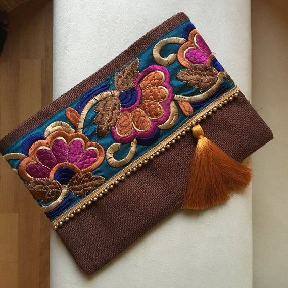 Brown Floral Clutch, Bohemian Clutch, Boho bag, women handbag, gift for her, bohochic clutch