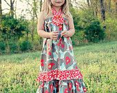 Spring Fling  Maxi Halter Dress with Flower Detail. $28.00, via Etsy.