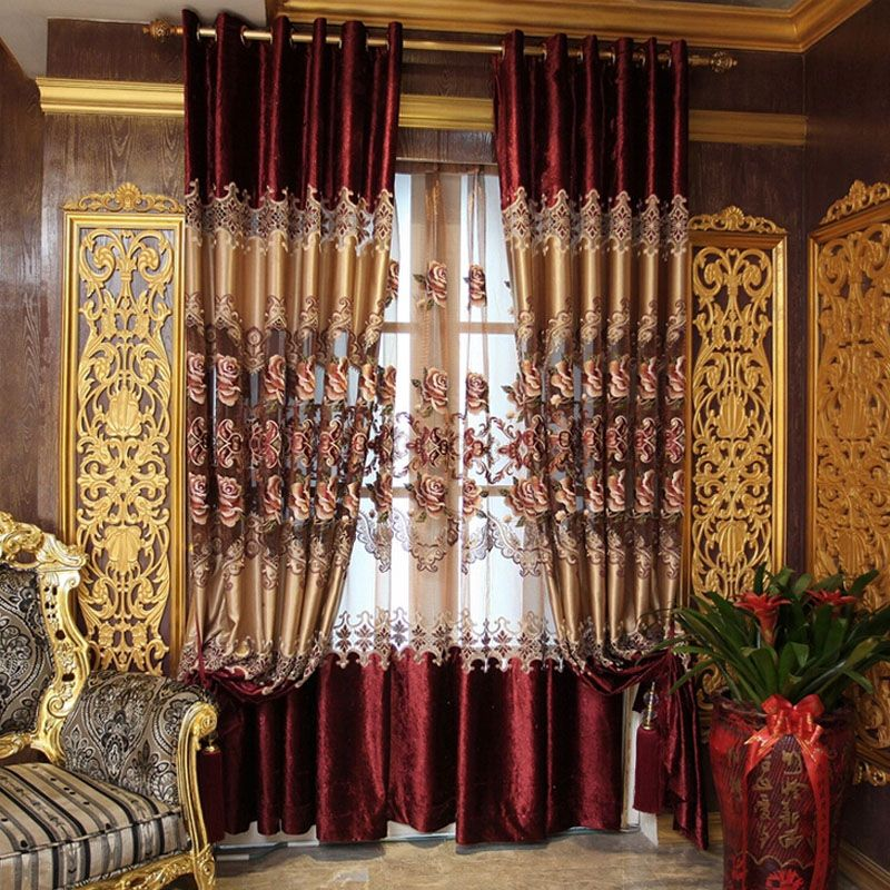 Vintage European Style Red Velvet Faux Silk Embroidery Curtains Fancy Curtains