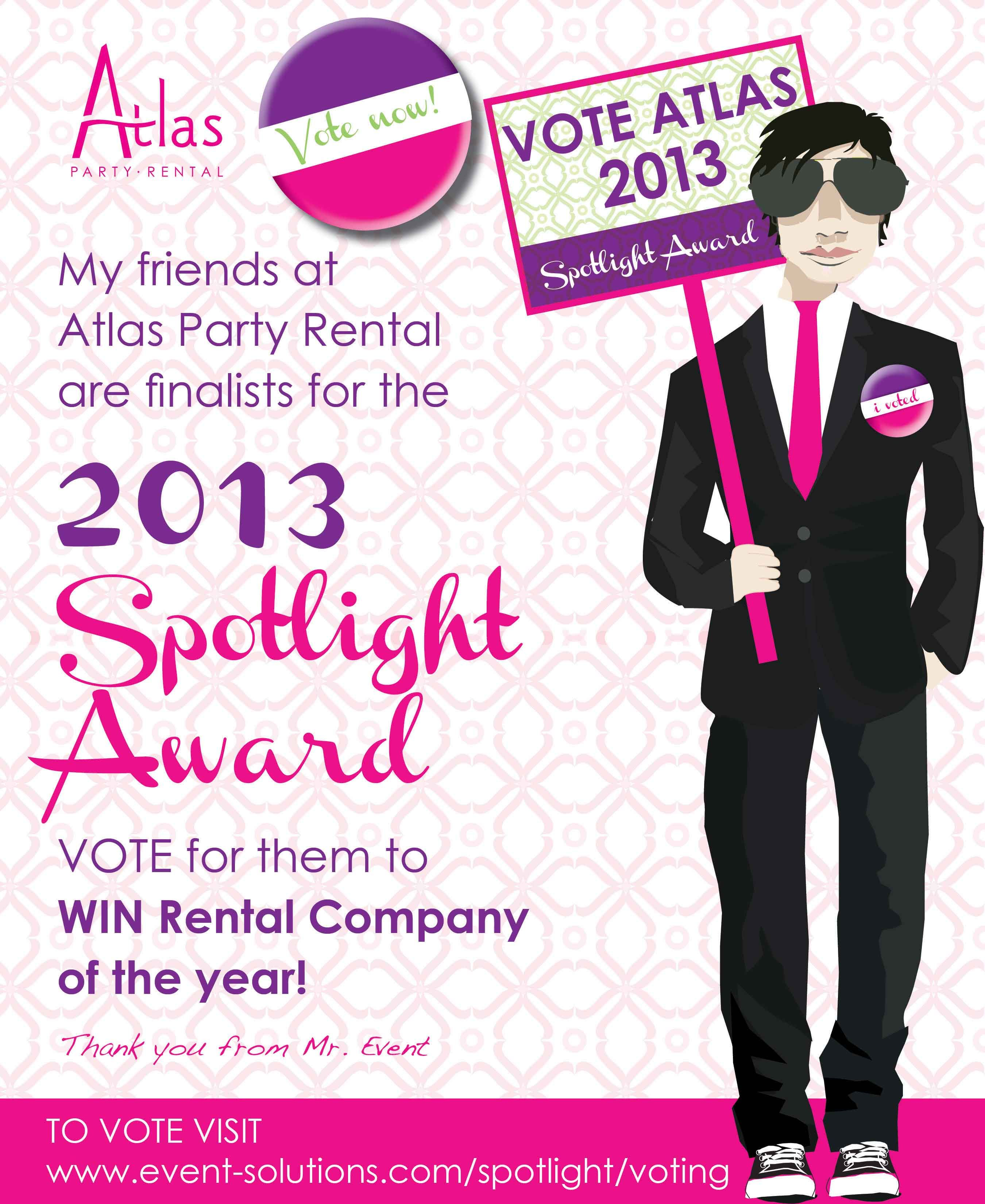 atlas 2013 spotlight award atlas party rental design flyer