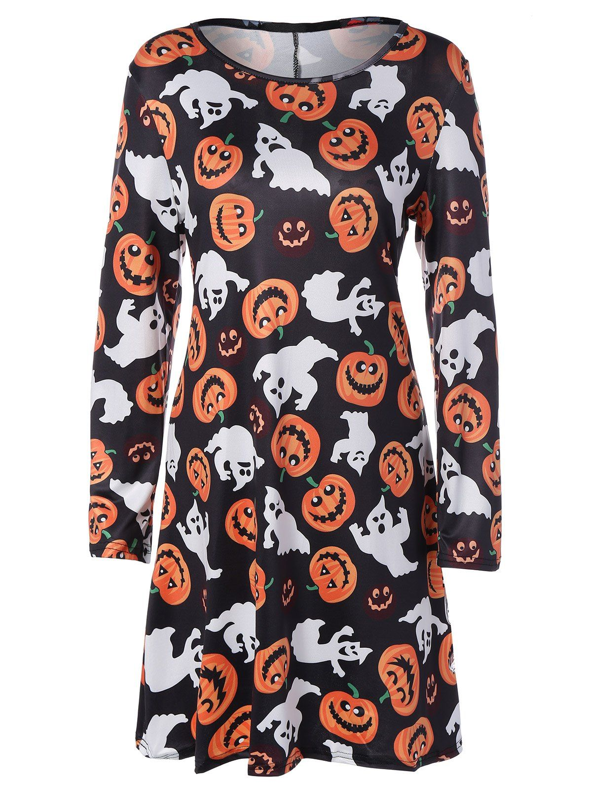 Only for long sleeve hallowmas mini swing dress in black