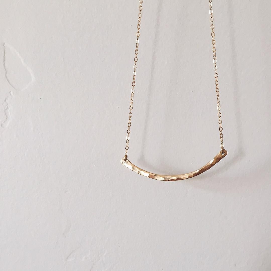 Hammered Crescent Bar Necklace Gold bar necklace Layering