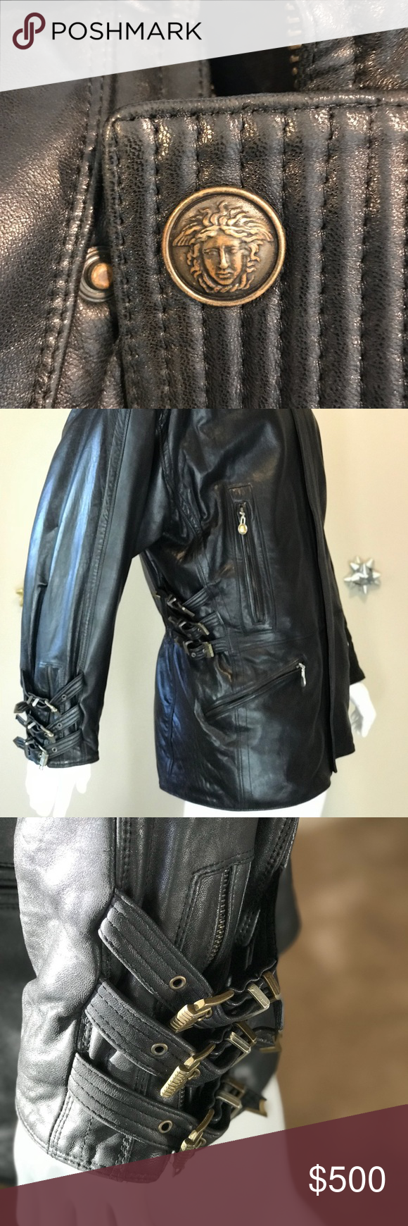 Gianni Versace Vintage Leather Jacket Certified Genuine