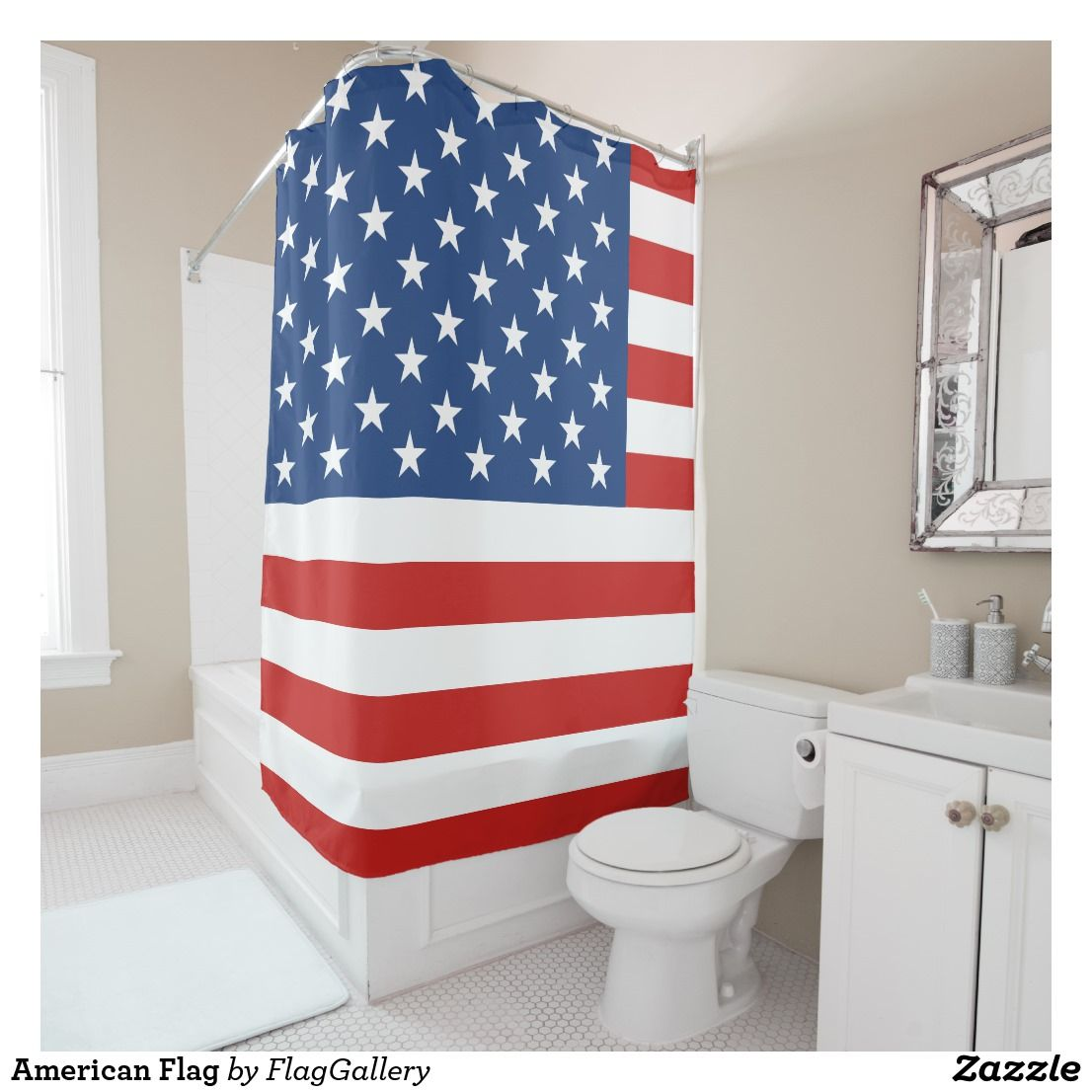 American Flag Shower Curtain Zazzle Com With Images Curtains