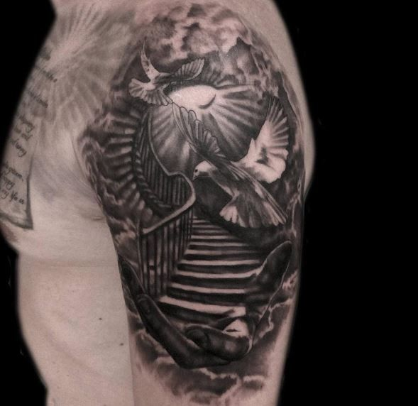 Stairway To Heaven Tattoo Idea  Aneglic Heaven Tattoos Ideas And Designs