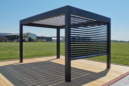 pergola autoport e en m tal lames orientables open. Black Bedroom Furniture Sets. Home Design Ideas
