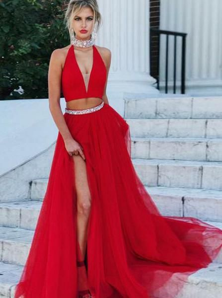 f6d8f6e4a1b Red Two Piece Prom Dress Formal