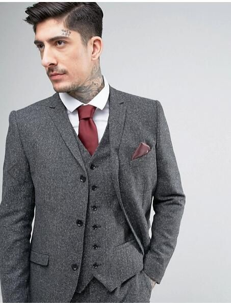 Buy Tweed Suit Men S Plus Size 3 Piece Suit Grey At Lestyleparfait
