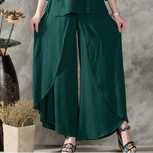 Cheap Womens Casual Ancho De La Pierna Palazzo Lino Pantalones De Vestir Verde Esmeralda Blanco Suel Pantalon Ancho Mujer Pantalones Mujer Pantalones De Vestir