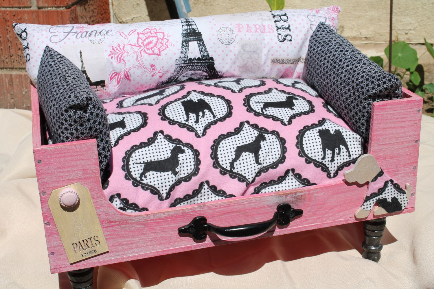 Paris Pooch Themed Dog Bed for smaller dogs by KashmereKittens on Etsy